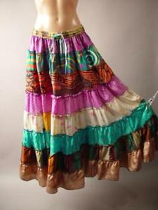 Patchwork Tiered Gypsy Folk Boho Bohemian Hippie Festival Long Maxi 260 mv Skirt