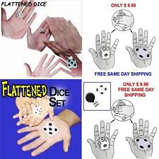 FLATTENED DICE SET CLOSE UP  MAGIC TRICK FREE SAME DAY SHIPPING NICE EFFECT