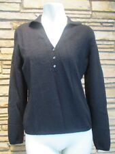 Geneva Women's 100% Cashmere Black V-Neck Sweater SZ M