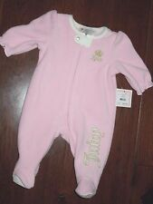 Juicy Couture baby girls 1 piece Pink fleece footed Sleeper Pajamas 6 -  9 month
