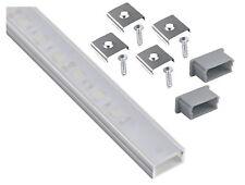 Costruzione in alluminio profilo anodizzati 2m piatto Opal + COPRITERMINALI + Morsetto per nastro Led