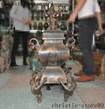 Marked Old Chinese purple copper Gilt Dragon Lion beast Incense burner Censer