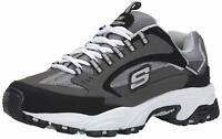 Skechers Mens Cutback 51286 Low Top Lace Up Running, Charcoal/Black, Size 10.5 i