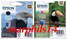 Genuine Epson T007 & T009 Nero & Cartucce Di Inchiostro a Colori