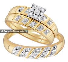 diamond .13 carat 3-ring bridal 10K gold engagement wedding band bride groom set