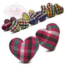 Tartan Heart Shaped Fabric Print Stud Earrings Reto Vintage Chic Trend