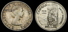 CANADA 1958 Silver One 1 Dollar Piece Queen Elizabeth II Toned AU-55+