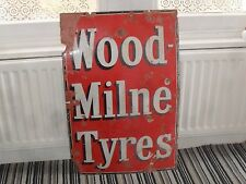 Old Wood Milne Tyre Sign Advertising Enamel Sign Garage Motoring