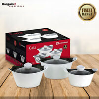 3pc Caia Non Stick Die Cast Stockpot Casserole Cooking Pan Set With Lid White