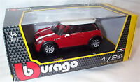 BMW Mini Cooper S Red white roof 1-24 Scale Model New in box