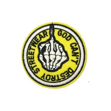 Cant Destroy Skeleton Middle Finger (Iron On) Embroidery Applique Patch