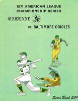 1971 ALCS Baseball Program, Baltimore Orioles @ Oakland A's, unscored GOOD
