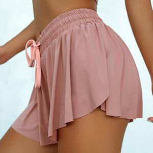 Damen Yogahose Shorts Skorts Mini Rock Kurz Hosen Fitness Sommer Tanz Sporthose~