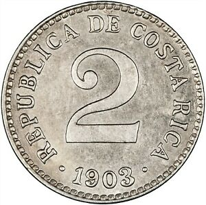 Costa Rica 1903 2 Centimos LUSTROUS EF+, ONE YEAR TYPE