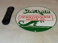"VINTAGE SINCLAIR PENNSYLVANIA MOTOR OIL DINOSAUR 11.25"" PORCELAIN METAL GAS SIGN"