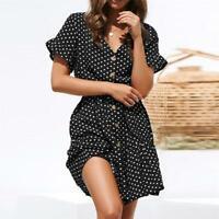 Fashion Ruffle Trim V Neck Short Sleeve Womens Dress Casual Date Hot Chic LJ