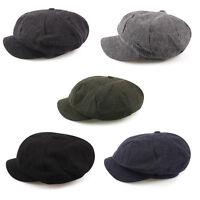 Unisex Mens Slub Cotton Tweed Baker Boy Cabbie Gatsby Flat Cap Newsboy Hats