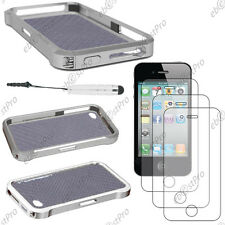 Cover hull grey case bumper vapor apple iphone 4s 4+ mini stylus screen film +3