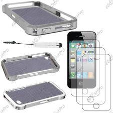 Housse Coque Etui Bumper VAPOR Gris Apple iPhone 4S 4+Mini Stylet+3 Film écran