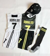 New 2019 Kids Soccer Jersey Juventus White #7 Ronaldo Kit Top+Short + Cap + sock