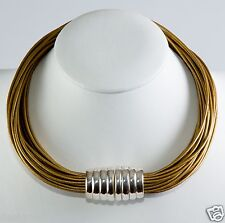 Simon Sebbag Gold Leaf leather necklace magentic sterling silver bead MLN3/GLDL