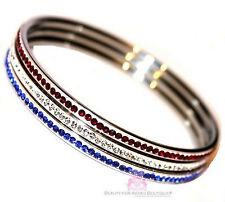 American Flag Cubic Zirconia Patriotic Blue Red White Cz 3 Bangle Bracelet Set