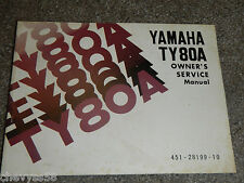 1974 74 TY80 TY 80 TRIALS YAMAHA OWNER OWNERS OWNER'S MANUAL