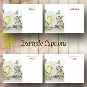 Large Funeral Florist Message Cards Single White Rose  Pack of 9 (Design 53)