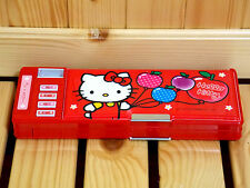 Sanrio Hello Kitty 2-side Multi-function Pencil Case/Box -RED <B> Free Shipping