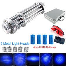 New Blue Visible Beam Light Laser Pointer Pen 450nm W/ 4×16340 Batteries +Box Us