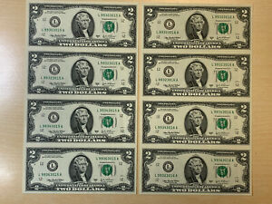 ( 2 ) 2003 A $2 Note Uncirculated Uncut 1/4 Sheet** CONSECUTIVE SERIAL NUMBERS