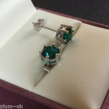 6-pin Small jade green 6mm cz gems Plum UK silver / white gold gf studs BOXED