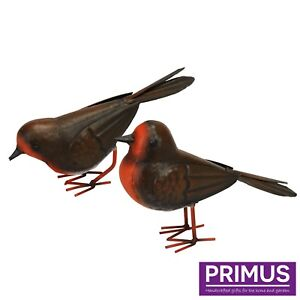 Primus Pair of Hand Crafted Metal Robins Garden Seasonal Christmas Ornaments