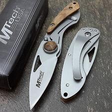 "MTECH USA Folding Knives Maple Burl Wood POCKET Frame Lock 5"" Pen Knife Keychain"