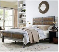 Bed Frame Queen With Headboard Rustic Vintage Reclaimed Wood Industrial  Bedroom