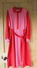 Boden Betty Midi Shirt Dress UK 14 R (US 10 EU 40 42) Crayon Pink/Post Box Red