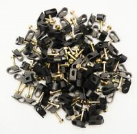 100 Pieces Single Black Flex Clips w/ Strain Relief Screw Mounting Coax Cable