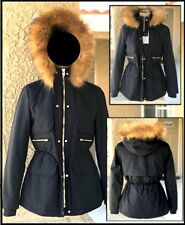 ZARA WOMAN (L) NAVY FUR LINED  PARKA with DETACHABLE FUR TRIM Sz L BNWT