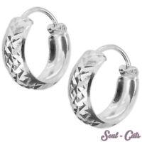 1 Paar Creolen gemustert rund Hoops Echtschmuck Ohrringe Sterling Silber 925er