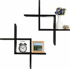 set of 2 wall mounted floating shelves, cross intersecting shelves - greenco