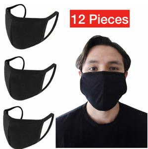 12-Pack Black Face Mask Reusable Washable Cover Masks Fashion Cloth Men Women
