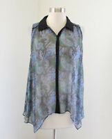 Elizabeth and James Sheer Silk Paisley Print Button Tank Top Blouse Size XS Blue