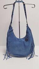 Michael Kors Satchel Large Suede Leather Rhea Slouchy Handbag (Denim) MSRP: $448