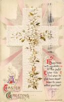 HAPPINESS WITH YOU ABIDE~JOHN WINSCH EMBOSSED EASTER POEM GREETING POSTCARD 1911