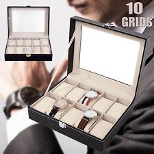 6/10/12 Grids Leather Watch Jewelry Display Storage Holder Case Box Organizer AU