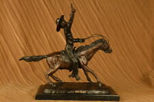 Large Charles Russell Wild West For Cowboy Marble Bronze Sculpture Statue Decor