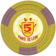 1 Ponce De Leon $5 Clay Casino Chips Puerto Rico FREE SHIPPING *