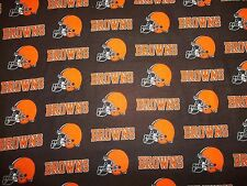 "CLEVELAND BROWNS  NFL  36"" x 60"" W  1 YARD - NEW 100% COTTON FLANNEL ""GO BROWNS"""