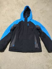 Columbia Youth Boys  Hooded Ski Jacket Blue Black Color Zip Snaps Youth 18/20