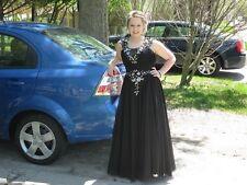 Custom Black Prom Dress Size 8 10 Beautiful Elegant Open Back Jewels Sparkle EC!